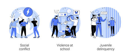 Unlawful behavior abstract concept vector illustrations. Vetores