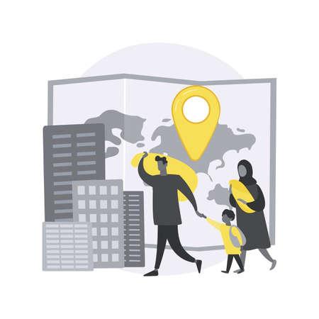Refugees abstract concept vector illustration. Vektorgrafik