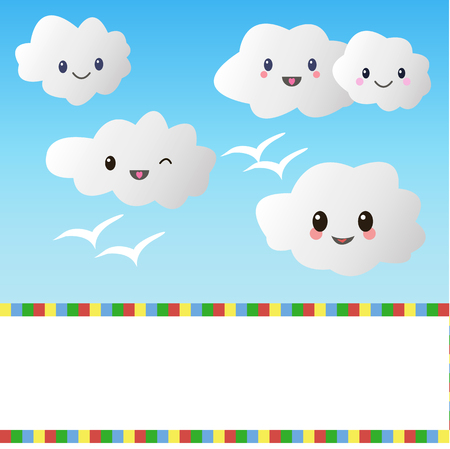 Small clouds with a smile  Vector illustration Stock Vector - 22550925