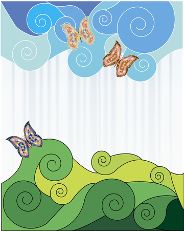 Abstraction sky and grass  Vector illustration Stock Vector - 22550980