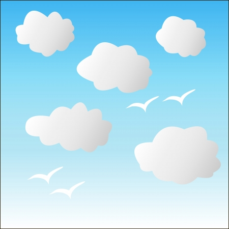 White clouds on a blue sky with the silhouette of a bird Stock Vector - 22550985