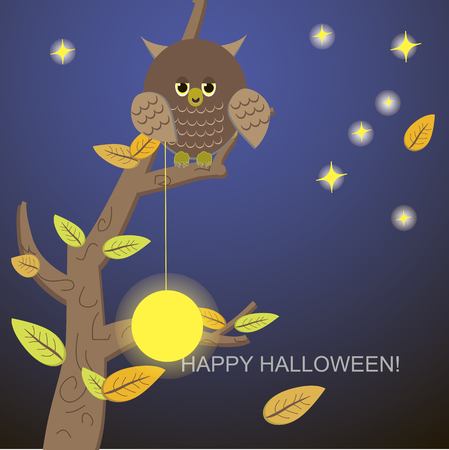 Owl tree with the moon and stars Stock Vector - 22779523
