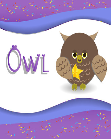 phonetics: Animal alphabet owl with a colored background