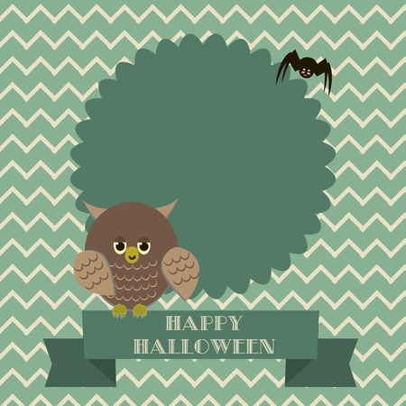 Spiders in the web tree and owl Vector