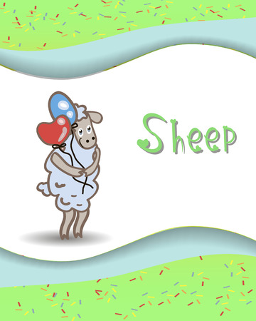 Alphabet animals sheep with balloons Vector