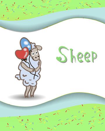 alfabeto con animales: Animales del alfabeto ovejas con globos