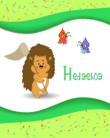 Animal alphabet hedgehog with a colored background Vector