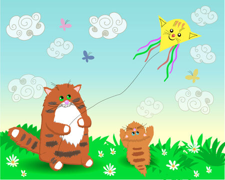 Dad and baby cats launch a kite Vector