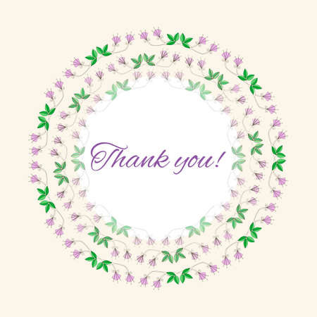 Postcard gratitude with romantic flowers and light pastel background Vector