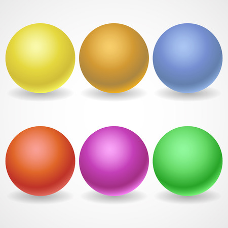 A collection of balls of different colors and lighting for your design. Color yellow, Golden, red, purple, blue, green on a white background. Vector