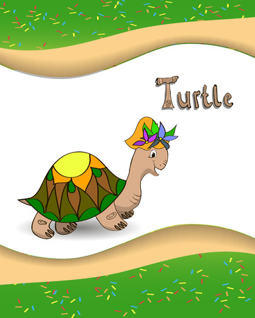Animal alphabet letter T and turtle with a colored background Vector