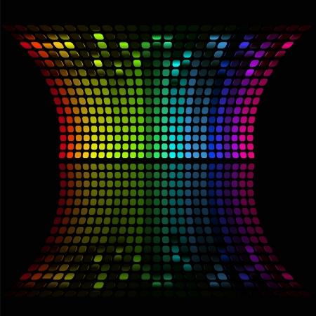 regenbogen: illustratie van kleurrijke bar met muziek tonen het volume op zwart Stock Illustratie