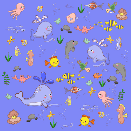 sea side: Cartoon set with sea live, animals set. Flowers. Romantic doodle se texture. Grunge retro backdrop with animals. Grunge sea. Leaf. Ornament. Backdrop.Copy that square to the side and youll get seamlessly tiling palettern which gives the resulting image t Illustration