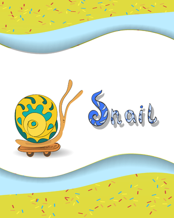Animal alphabet letter S and  snail with a colored background Vector