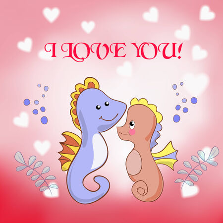 Lovers seahorses greeting card for Valentines day Vector