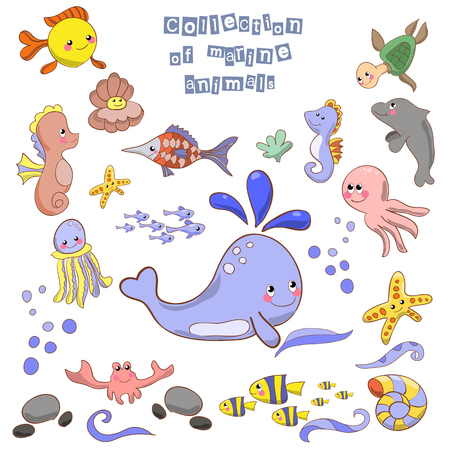 Collection of marine animals and fish. Octopus, whales, fish, shell, algae, sea horses, turtles, crabs Ilustracja