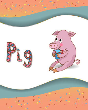 Alphabet letter P and pig with a colored  Vector