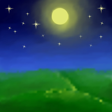 Night landscape with the moon and full moon . For registration of photo books, books, customers, postcards Vector