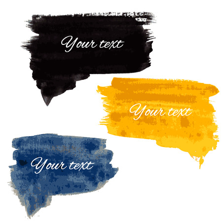 Collection of cloud speech watercolor black, yellow, blue