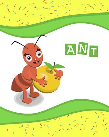 Ant from the collection of alphabet animals Vector
