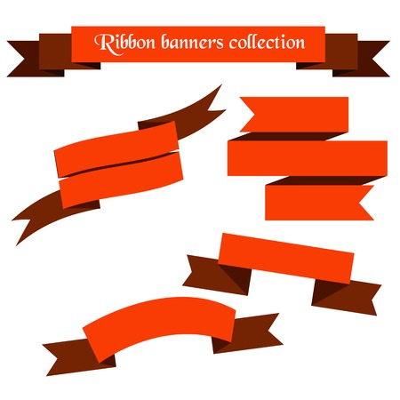 The collection of     orange retro ribbons banners for your business