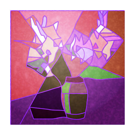 Stained-glass Windows with white lilies on the pastel background Vector