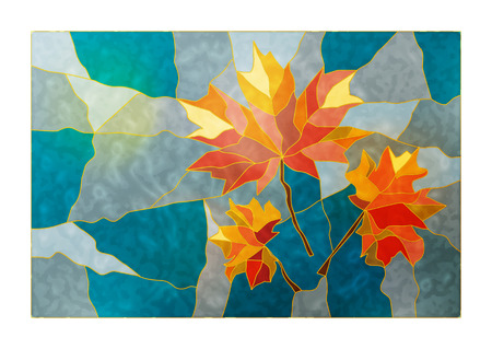 Magic stained glass window with the image of a yellow-red autumn maple leaves on a blue background for your design