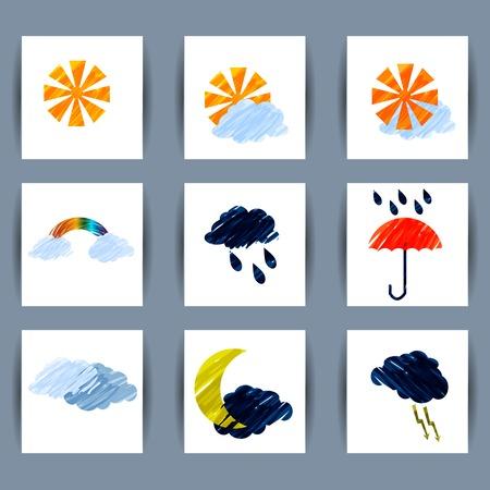 zon en maan: Set van weer pictogrammen zon, maan, wolken, bliksem, regen, umbrell