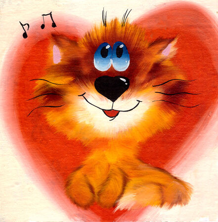 auburn: Auburn cheerful fluffy kitten with blue eyes against a background of hearts and notes drawn myaslyanoy paint