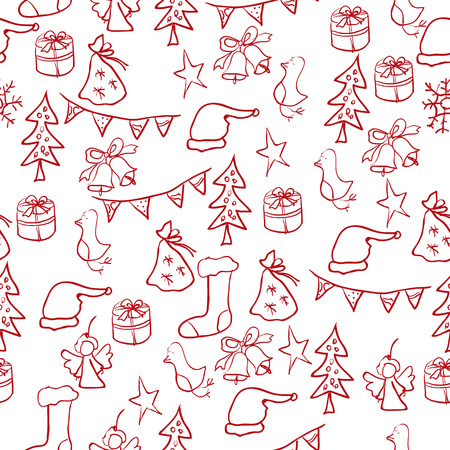 Christmas set of pictures: star, tree, toy, a bell, a snowman, Malinovka, cap, a gift, a bag of gifts, angel, snowflake Vector