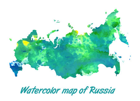 russian federation: The contour map of the Russian Federation watercolor paint