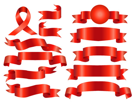 The collection red ribbons banners for your business