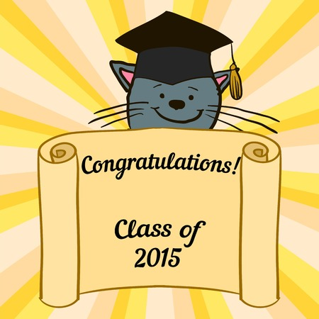 Greeting card with a character and congratulations graduate completion of studies Vector