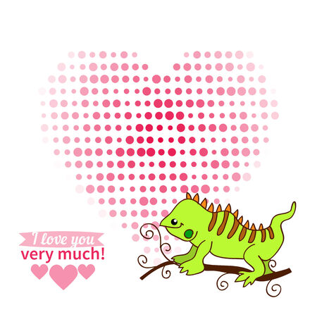 Illustration drawn by animal declaration of love and typography elements Vector