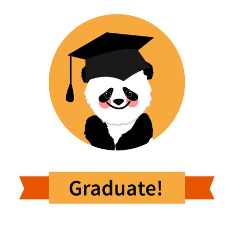 Greeting card with a character panda and congratulations graduate completion of studies