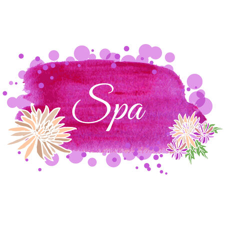spa treatment: Illustration made ​​using watercolors on spa salon with flowers for your decor