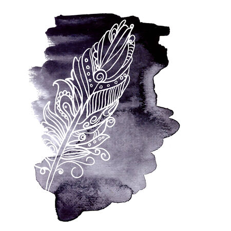 realization: Watercolor design element feather  for the realization of your best ideas.