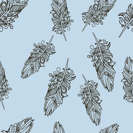 Seamless pattern with Doodle feathers for your design Vector