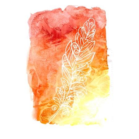 깃털은 프로젝트의 라이브 수채화 페인트를 칠한 스톡 콘텐츠 - 35592218