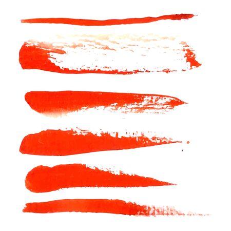 realización: Acuarela elemento de dise�o de cepillo rojo para la realizaci�n de sus mejores ideas. Vectores