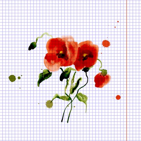 Postcard painted red poppy with leaves lively watercolor paint for your design