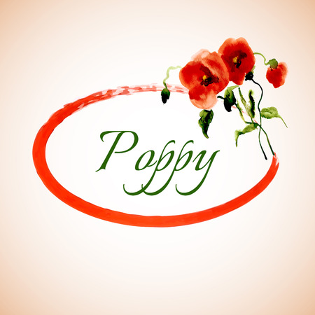 lively: Postcard painted red poppy with leaves lively watercolor paint for your design
