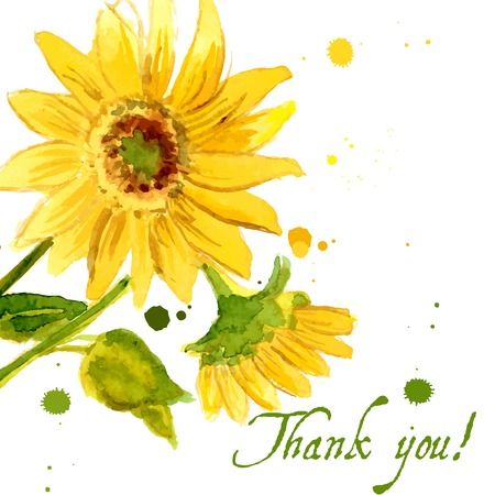 あなたの設計のための水彩で描かれた黄色のヒマワリの組成  イラスト・ベクター素材
