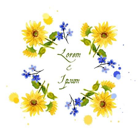 De samenstelling van gele zonnebloem geschilderd in waterverf voor uw ontwerp
