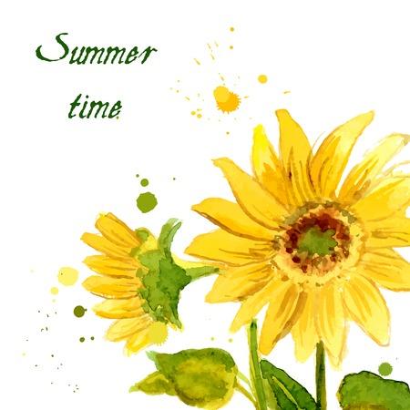 Die Zusammensetzung der gelbe Sonnenblumen Aquarell für Ihr Design lackiert Illustration