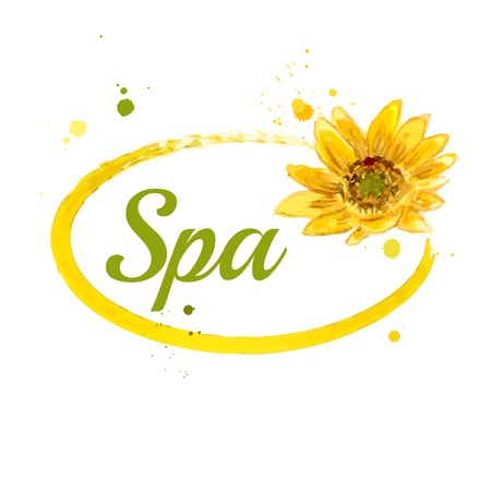 sunflower seed: rThe spa composition of yellow sunflower painted in watercolor for your design