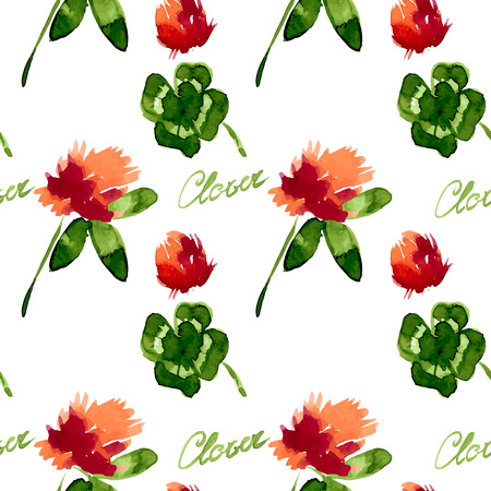 trifolium: Floral Pattern Clover Flowers (Trifolium Pratense) and Victorian Motifs. The Texture for the Web, Print, Wallpaper, Gift Wrapping, Home Decor, Spring, Summer, Fashion, Textile Design, St. Patrick Decoration, Background Site Illustration