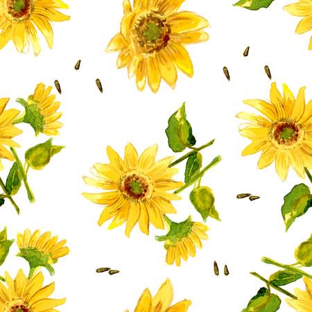 귀하의 디자인에 대 한 수채화로 그려진 노란 해바라기의 구성 스톡 콘텐츠 - 37695771
