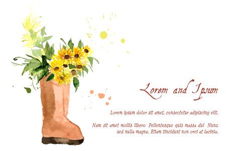 Samenstelling van gele die zonnebloem in waterverf voor uw ontwerp wordt geschilderd Stock Illustratie