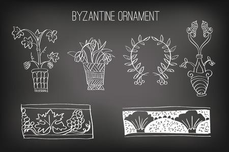 byzantine: Byzantine Ornament Painted White Chalk on a Blackboard, Vector Illustration Illustration